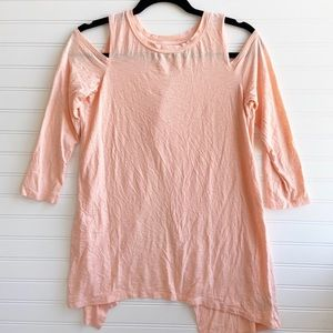 Aerie Peach Pink Cold Shoulder Flowy Open T-shirt